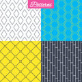 Rhombus, hexagon and grid with circles textures.