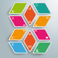 Rhombus pieces options infographic design with colored star on the grey background Stock Photo