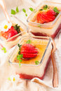 Rhubarb strawberry flan table Stock Image