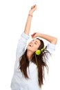 In the rhythm with headphones. Royalty Free Stock Photo