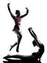 Rhythmic Gymnastics woman  little girl child  teenager silhouett Royalty Free Stock Photo