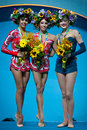 Rhythmic gymnastics world championship kyiv ukraine august margarita mamun l yana kudryavtseva c and alina maksymenko medallists Stock Images