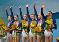 Rhythmic gymnastics world championships belarus winners kiev aug nd on august in kiev ukraine gymnasts on medal award ceremony Stock Images
