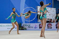 Rhythmic gymnasts Italy World Cup Pesaro 2010 Stock Image