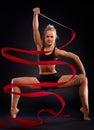 Rhytmic gymnast with ribbon Royalty Free Stock Photo