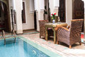Riad courtyard a in marakech morrocco Stock Photography