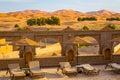 Riad terrace on the edge of the Sahara desert, Morocco Royalty Free Stock Photo