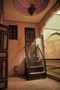 Riad wooden stairs Royalty Free Stock Photo