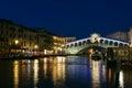 Rialto bridge at dusk in Venice Royalty Free Stock Photo