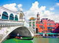 Rialto bridge with gondola under the bridge in venice italy famous ponte di traditional Stock Images