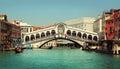 Rialto Bridge. Grand Canal in Venice Royalty Free Stock Photo
