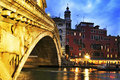 Rialto bridge and grand canal in venice italy april view of at sunset on april this main is meter long meters Stock Images