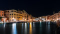 Rialto bridge by night Royalty Free Stock Photo