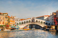 Rialto Bridge (Ponte Di Rialto) on a sunny day Stock Photography