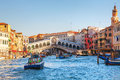 Rialto Bridge (Ponte Di Rialto) on a sunny day Royalty Free Stock Photo