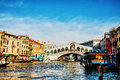Rialto bridge ponte di rialto in venice italy december on a sunny day with tourists on december its oldest and one of the four Royalty Free Stock Images