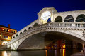 Rialto bridge ponte rialto on canal grande in venice night shot of veneto italy Royalty Free Stock Photography