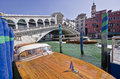 Rialto bridge venice famous in with iconic water taxis Stock Photography