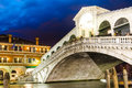 Rialto bridge venice italy ponte di famous touristic attraction in city medieval architecture twilight view Royalty Free Stock Photos