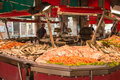 Rialto market fish stand on famous in venice Royalty Free Stock Image