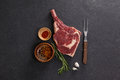 Rib chop and ingredients Royalty Free Stock Photo