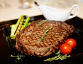Rib eye steak with vegetables Royalty Free Stock Images