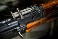 Rib on firearms machine numbers closeup Stock Photo