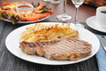 Rib steak with shrimp Stock Photography