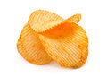 Ribbed potato chips snack on white Stock Photo