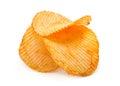 Ribbed potato chips snack on white Stock Photo