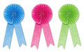 Ribbon award set blue pink green in white background Stock Photo