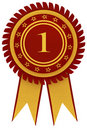 Ribbon awards for first place Royalty Free Stock Photo