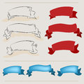 Ribbon banners hand drawn set of red and blue colors and drawing in the old style Stock Image
