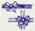 Ribbon with bow doodle style Royalty Free Stock Images