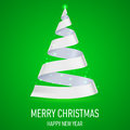 Ribbon christmas tree white on green background greeting card Royalty Free Stock Images