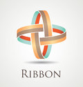 Ribbon circles abstract and modern icon with two entangled Stock Image