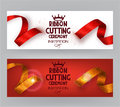 Ribbon cutting ceremony banners with abstract ribbons and abstract hand with scissors Royalty Free Stock Photo