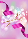 Ribbon cutting ceremony card with pink ribbon and bokeh background