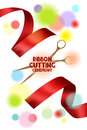 Ribbon cutting ceremony card with scissors red ribbons and blur background Royalty Free Stock Photo