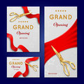 Ribbon cutting with scissors grand opening ceremony vector invitation cards, banners