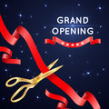 Ribbon cutting with scissors grand opening vector poster. Royalty Free Stock Photo