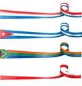 Ribbon flag set cuba poland south africa france Stock Photography