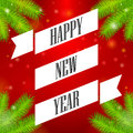 Ribbon happy new year christmas tree branch red background Stock Images