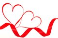 Ribbon hearts trailing with over a white background Royalty Free Stock Photo