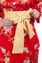 Ribbon on japanese traditional clothes of kimono yellow yukata Stock Image