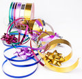 Ribbon reel with colorful ribbons and bows Royalty Free Stock Photo