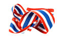 Ribbon with thai flag pattern on white background isolated Royalty Free Stock Photography