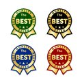 Ribbons award best price label set. Gold ribbon award icon isolated white background. Best quality golden label for Royalty Free Stock Photo