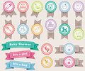 Ribbons about babies and stamps pastel colors Royalty Free Stock Image