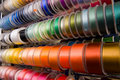 Ribbons on bobbins Royalty Free Stock Image